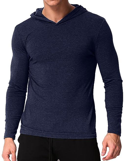 MODCHOK Hombre Camiseta Manga Larga Sudaderas con Capucha Ligera T-Shirt Sweatshirt?: Amazon.es: Ropa y accesorios