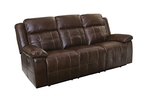 New Classic Furniture Clayton Full Power Dual Recliner Sofa with Power Headrests, Power, Penny