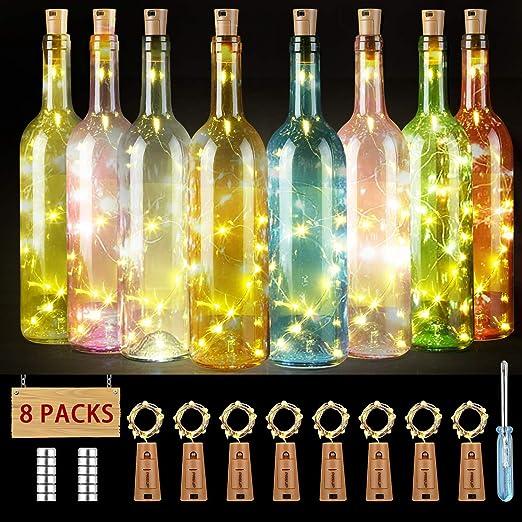 PREUP Lucine Led Decorative,8 x 20 Luci Stringa per Bottiglia di Vino, Festa, Filo di