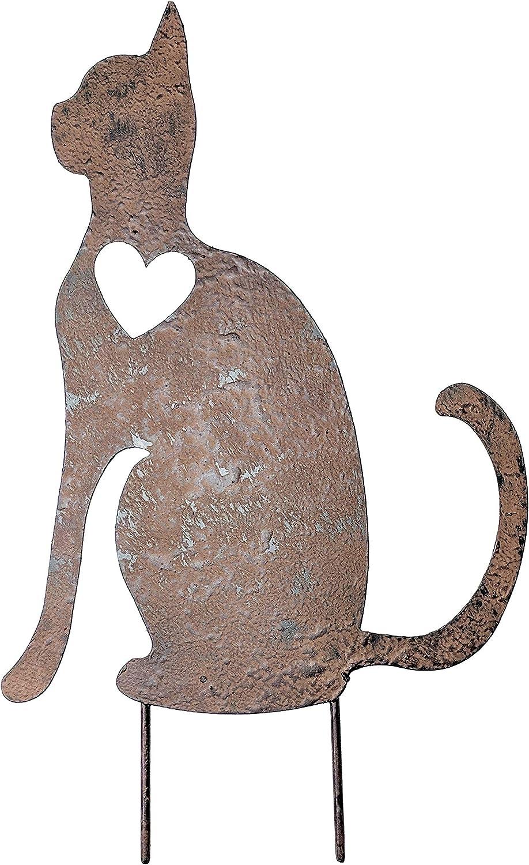 Transpac Rust Metal Sitting Cat Memorial Garden Stake Gift for Pet Lover