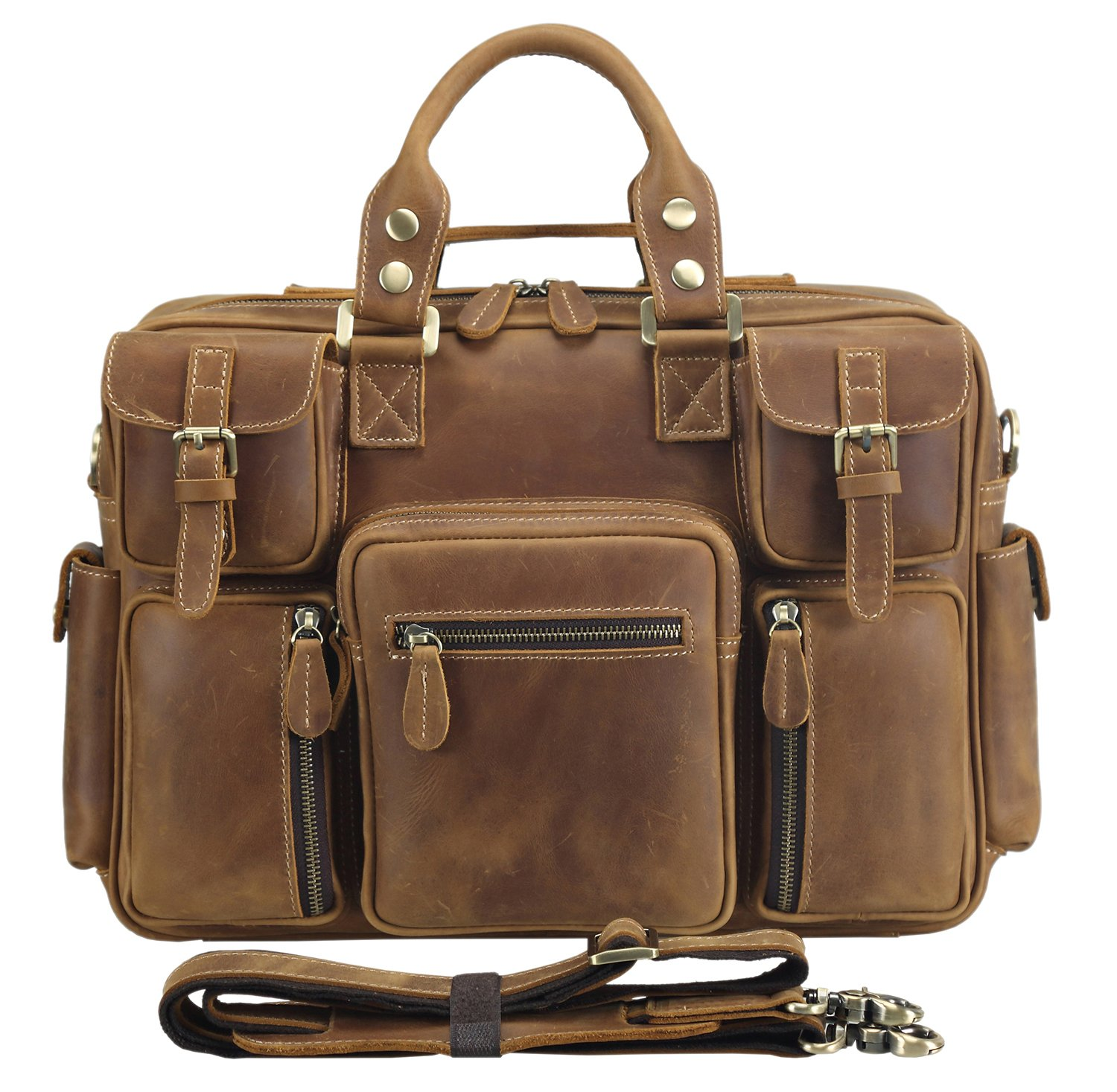 Polare Men's Full Grain Leather Messenger Bag Business Case Computer Briefcase 15.5''