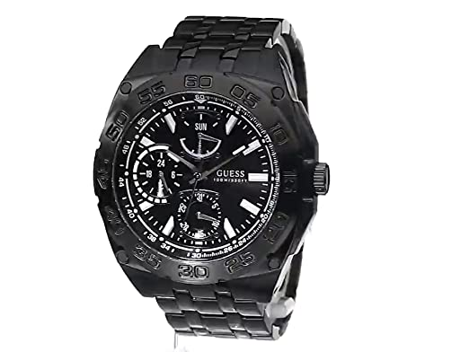 Amazon.com: GUESS Mens Quartz Stainless Steel Casual Watch, Color:Black (Model: U0487G2): Guess: Watches