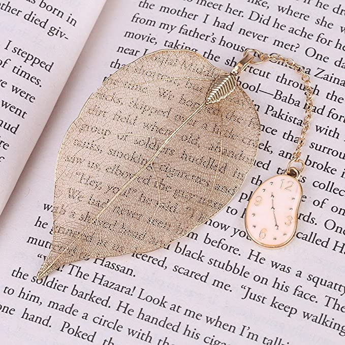 Creative Gold Metal Leaf Bookmark Alice//Rabbit//Watch Pendant Reading Mark