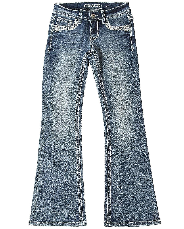 Grace in LA Girls Medium Wash Aztec Pocket Bootcut Jeans