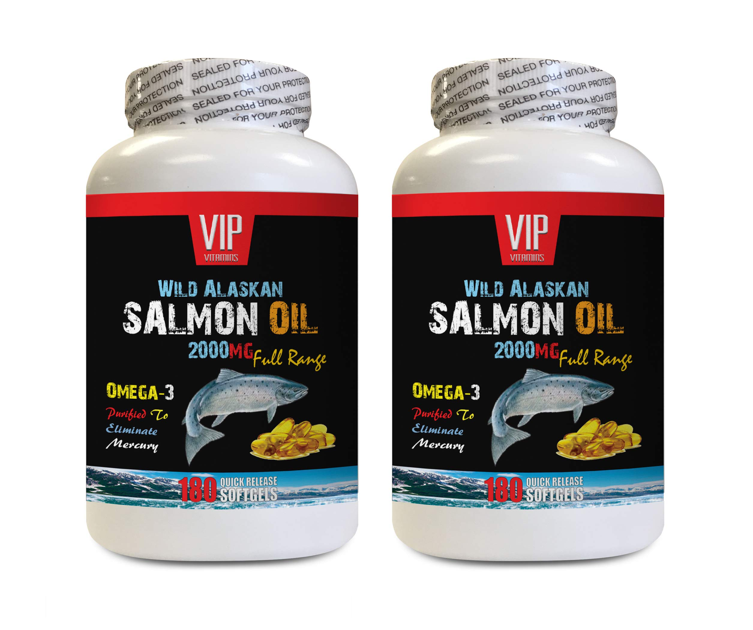 Heart Health Formula - Wild Alaskan Salmon Oil 2000MG - Full Range - Fish Oil Omega 3 Triple Strength - 2 Bottles 360 Softgels by VIP VITAMINS