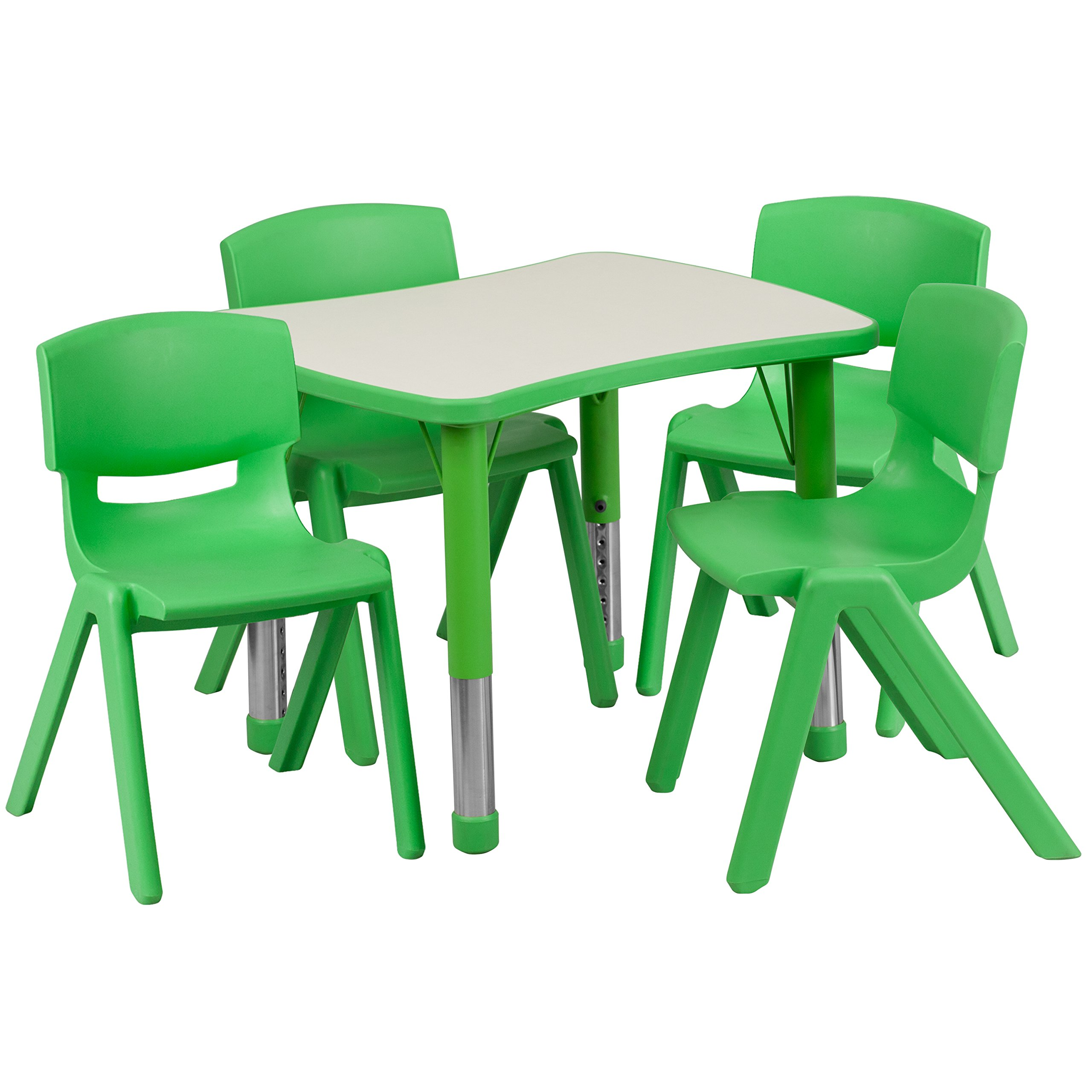 Flash Furniture 21.875''W x 26.625''L Rectangular Green Plastic Height Adjustable Activity Table Set with 4 Chairs by Flash Furniture