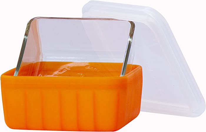 Frego Award-Winning Plastic-Free Glass and Silicone Food Container | 4 Cups | Orange