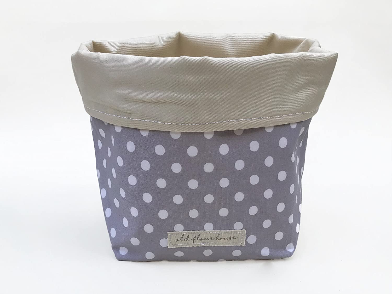 Grey and White Polka Dot Fabric Basket, Old Flour House