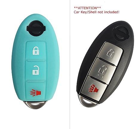 Funda de silicona de CK+ para llave de Nissan Qashqai X-Trail. Funda sin llave, con 3 botones azul