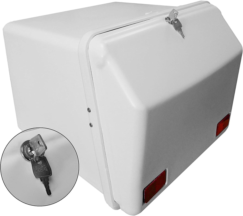 Portaequipajes Moto baúl Reparto Blanco con Reflectantes homologados, Cierre Cerradura