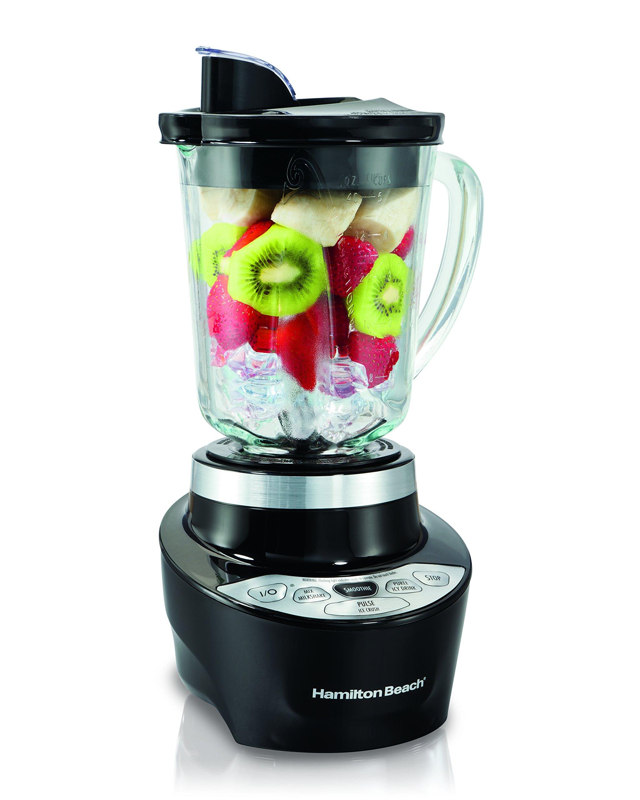 Hamilton Beach Smoothie Smart Blender with 5 Speeds & 40 oz Glass Jar, Black (56206)