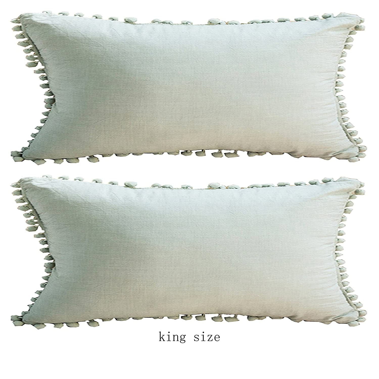 Meaning4 White Cotton Throw Pillow Cases Covers 18x18 inches with Pom Poms 2 Pcs