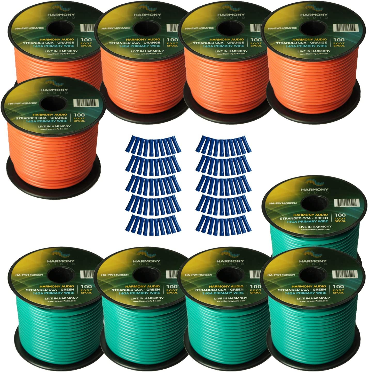 B07L6NY5HC Harmony Audio Primary Single Conductor 14 Gauge Power or Ground Wire - 10 Rolls - 1000 Feet - Green & Orange for Car Audio/Trailer/Model Train/Remote 81mdILEPMvL