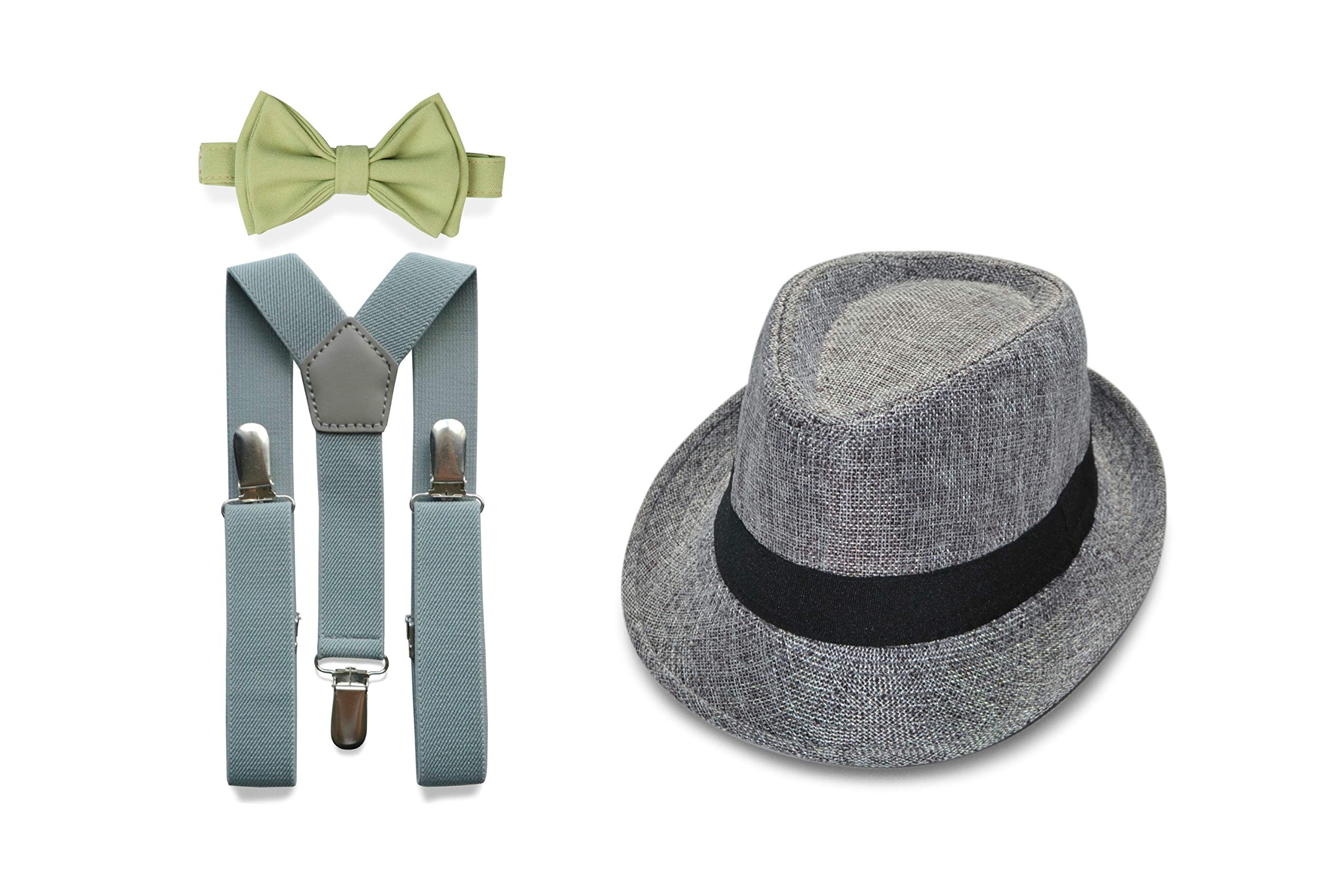 Armoniia Ring Bearer Outfit for Weddings includes Light Grey Suspenders & Bow Tie with Grey Fedora (1. Toddler (18 mo - 6 yrs), Light Grey Suspenders & Sage Bow Tie & Grey Fedora) by Armoniia