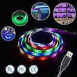 Simfonio LED Lighting Strip 5V 1M 3.28Ft 5050 SMD RGB 30leds 30 Pixel WS2812B IC Dream Color Waterproof USB Light Kit with Mini Controller