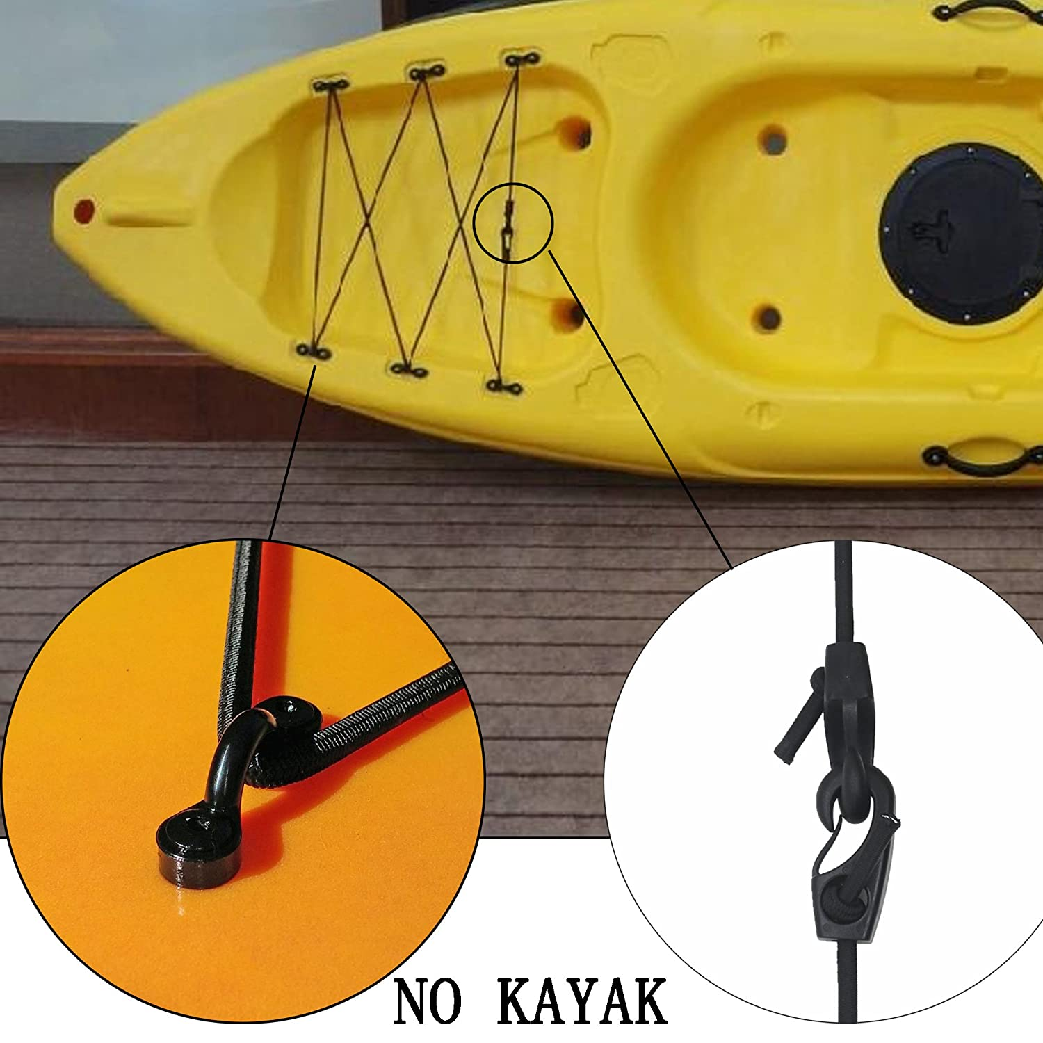 in Kayak Bungee Rigging Kit 8 Feet Black with screws and rivets YYST Sit