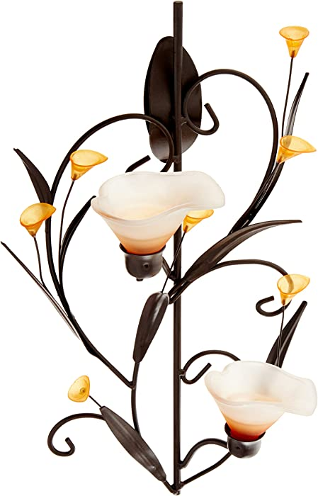 KOEHLER 10015809 Amber Lilies Candle Wall Sconce