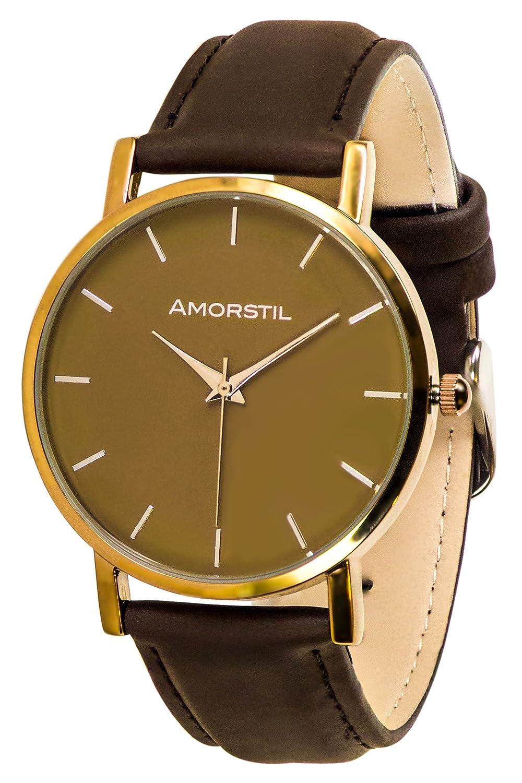 Amorstil Rosegold Watch with Dark Brown Leather Strap