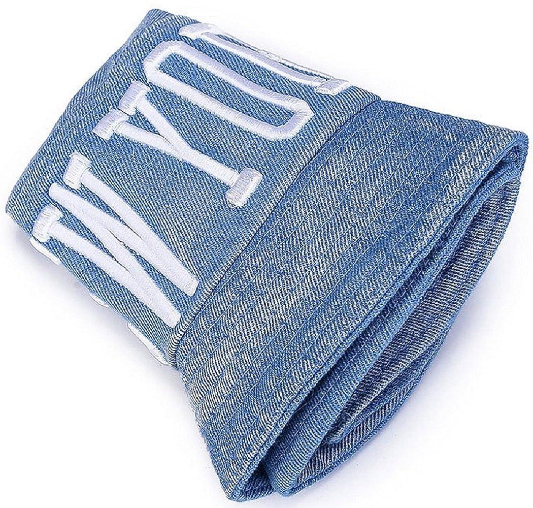 bettyhome Women Men Fashion Cotton Packable Reversible Jean Letter Pattern Wide Rim Flat Fisherman Bucket Sun Hat