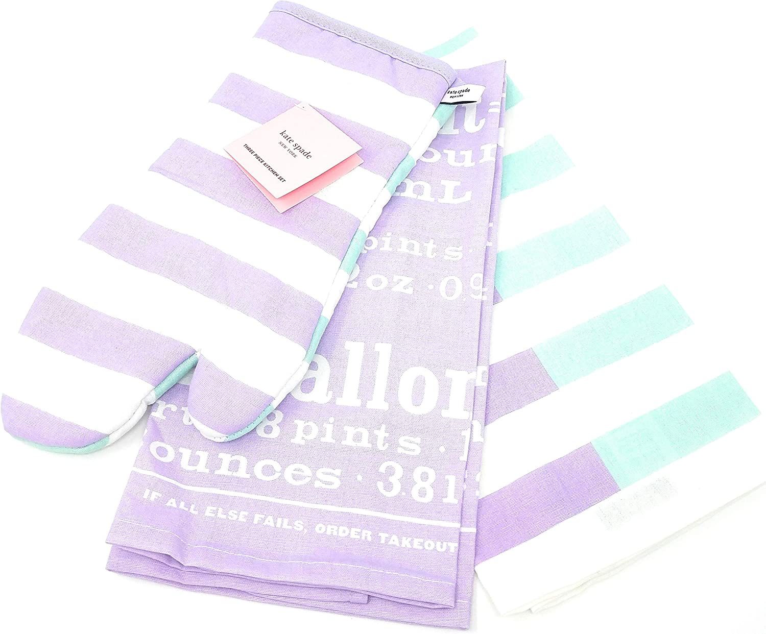 Kate Spade Three Piece Kitchen Set,Oven Mitt/2 Dish Towels (Springtime/Iced Grape)