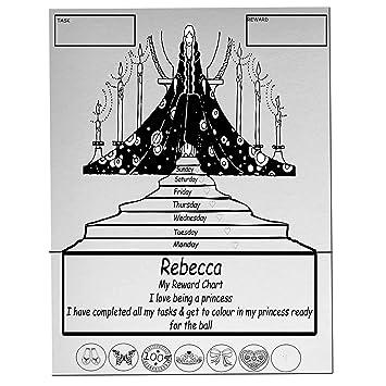 Princesa Niñas personalizable nombre para colorear magnético A4 imán ...