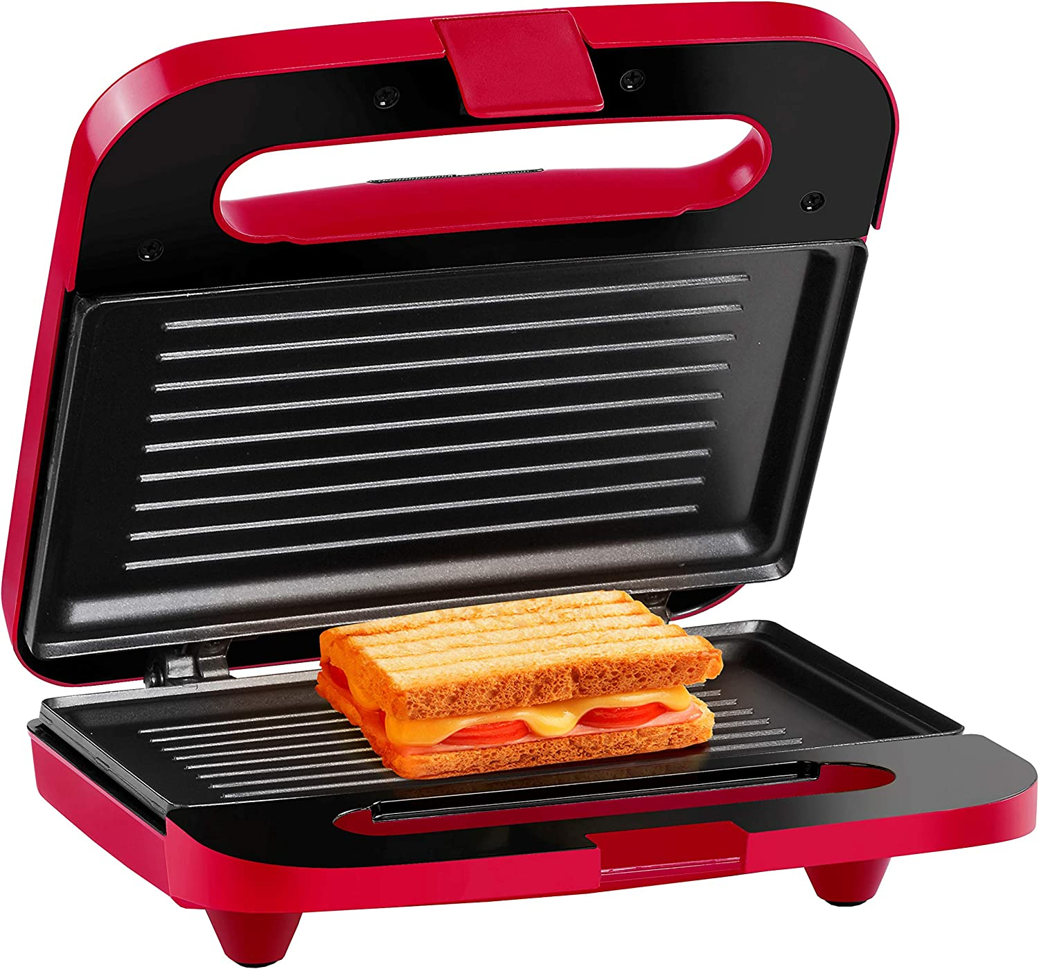 Holstein Housewares HH-09125003R Maker 2-Slice Electric Sandwich Grill Press, Red