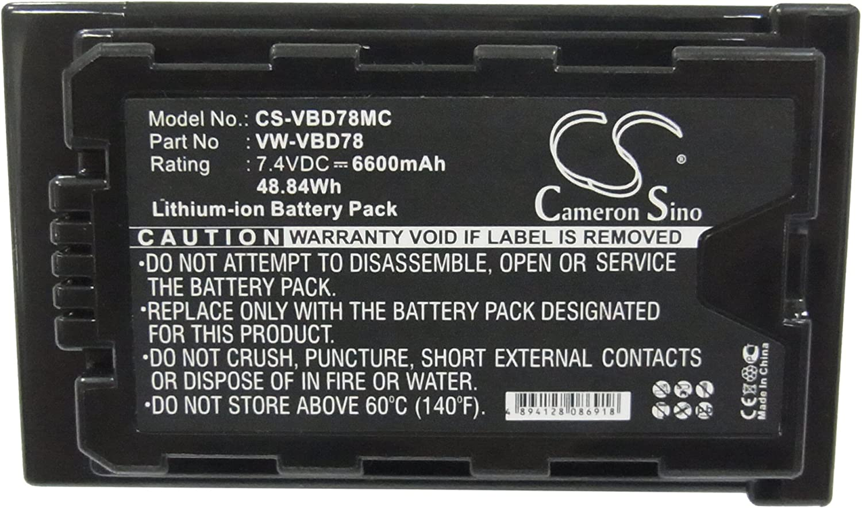 HC-MDH2GK-K Battery HC-MDH2GK 6600mAh Replacement for Panasonic HC-MDH2 P//N VW-VBD78