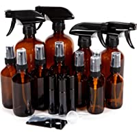 Vivaplex, Amber, Glass Bottle Set, 16oz (x2), 8oz (x2) with Trigger Sprayers. 4oz (x4), 2oz (x4) with Fine Mist Sprayers, 10 ml Stainless steel Roller Bottles (x4) - Plus Accessories
