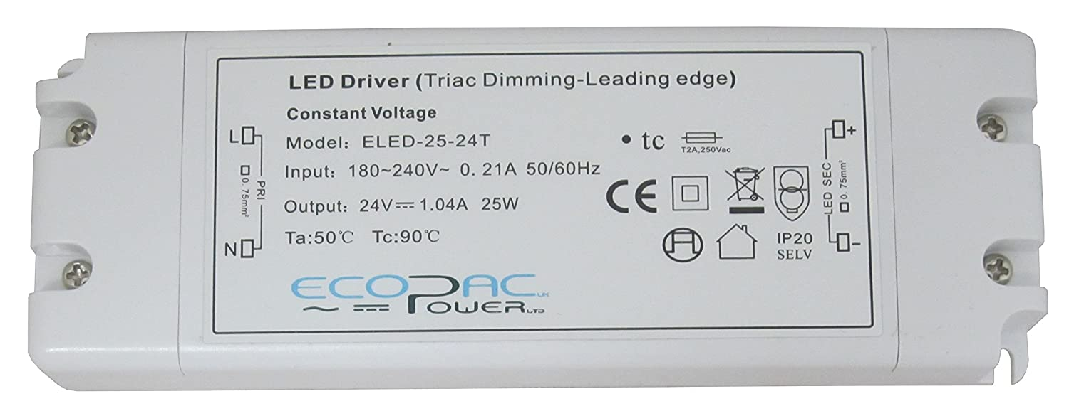 Ecopac Constant Voltage LED Driver ELED-25-12T 25W 12V Ecopac Power