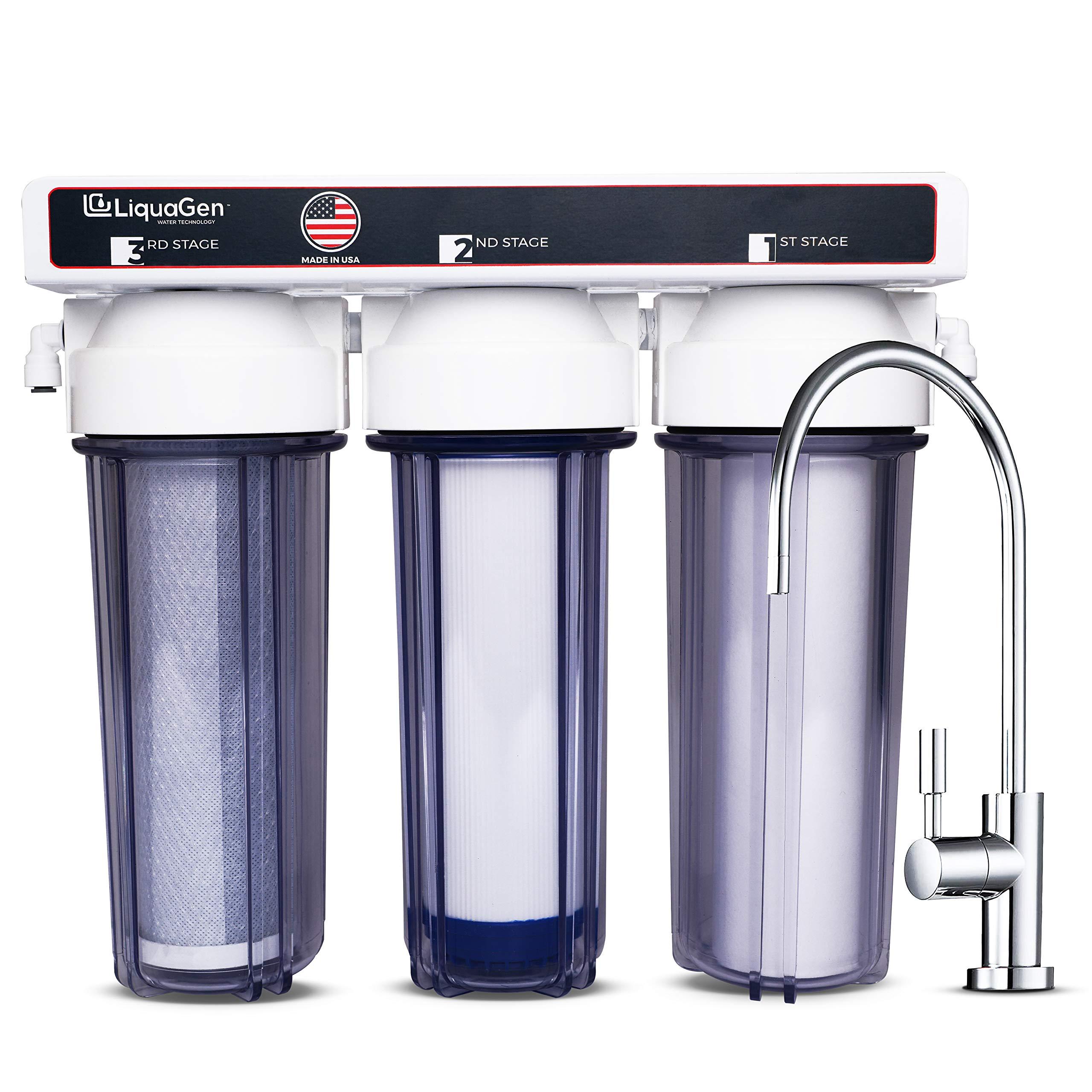 LiquaGen - 3 Stage Zero Waste Under Sink High Flow Home Drinking Water Purification System (Clear)