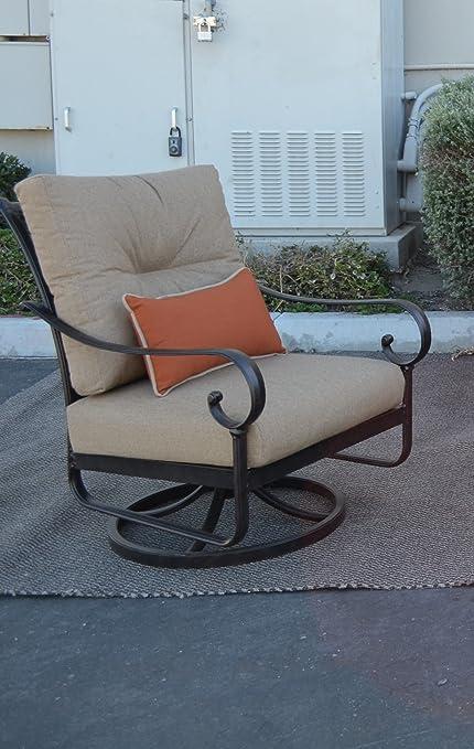 Superbe Santa Anita Outdoor Patio Set Of 4 Swivel Rocker Club Chairs Dark Bronze  Cast Aluminum Sunbrella