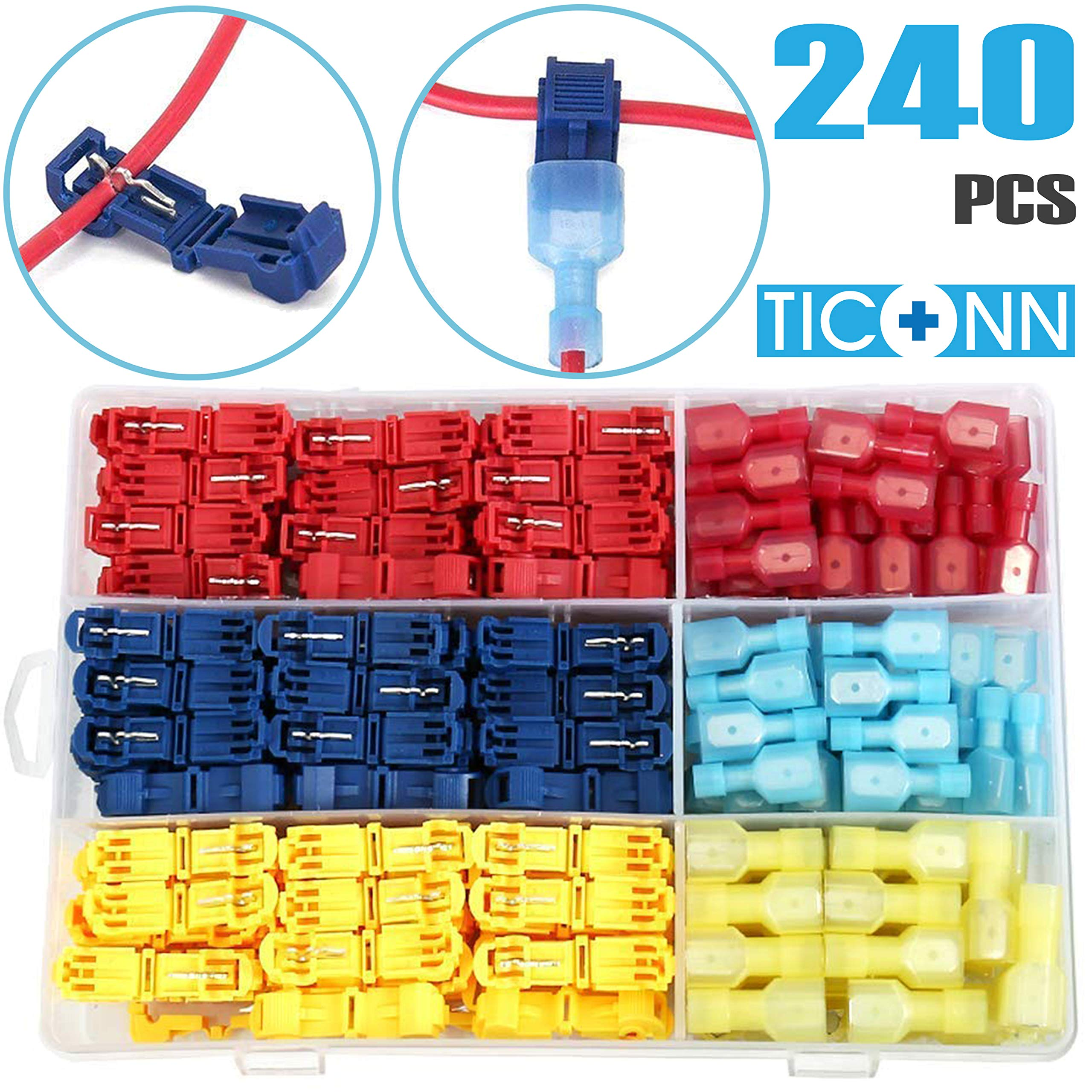 TICONN 240pcs T-Tap Wire Connectors, Self-Stripping Quick Splice Electrical Wire Terminals, Insulated Male Quick Disconnect Spade Terminals Assortment Kit with Storage Case