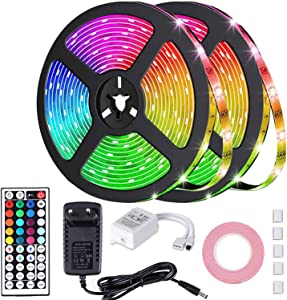 LED Light Strips,Color Changing LED Strip Lights,Waterproof RGB LED Light Strip,Flexible Rope Lights with Remote Control for Bedroom Home Kitchen Christmas Decoration(Original/32.8FT)