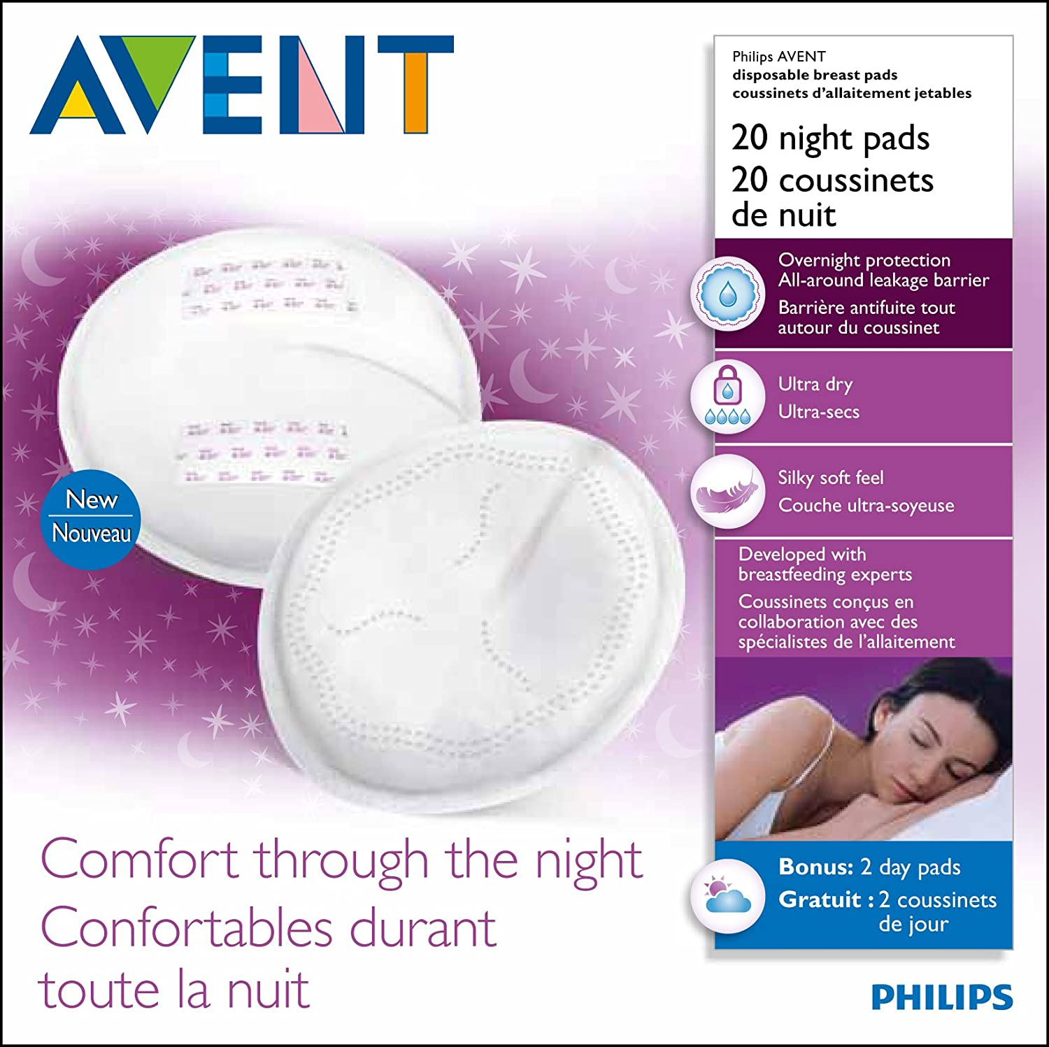 PHILIPS AVENT NIGHT TIME DISPOSABLE BREAST LEAKAGE BRA PAD x20 SCF253//20