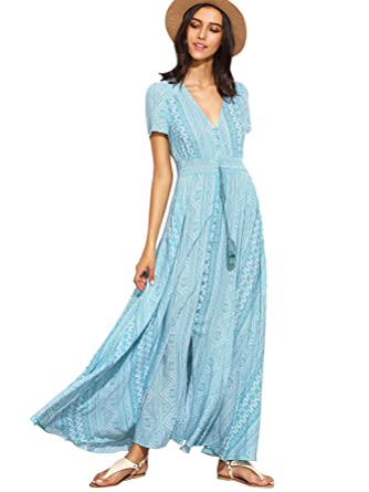 acd8771f32 Milumia Women s Button Up Split Floral Print Flowy Party Maxi Dress X-Small  Light Blue
