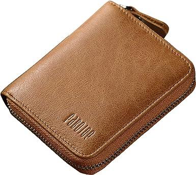 Pabojoe Mens Leather Credit Card Holder Money Clip Zippered Pocket Black