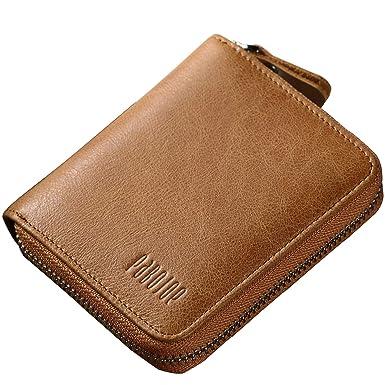 8709e155a9f7 Mens Zipper Wallets RFID Genuine Leather Money Credit Cards ID Window Large  Card Wallet Bifold Pabojoe