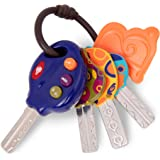 B. toys by Battat 4 Textured Toy Car Keys for Babies & Toddlers – LucKeys – Blue – Flashlight & 3 Car Sounds – Non-Toxic…