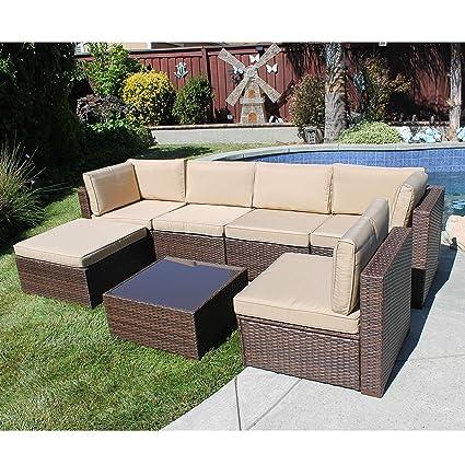 Amazon.com: SUNSITT - Juego de 7 muebles seccionales de ...