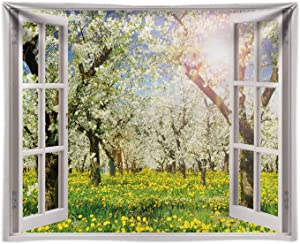 Funnytree 8x6FT Fabric Spring Window Backdrop Flower Tree Grass Nature Forest Landscape Sunshine Garden Scenery Background Baby Shower Party Decor Banner Supplies Photography Photo Booth Prop Gift