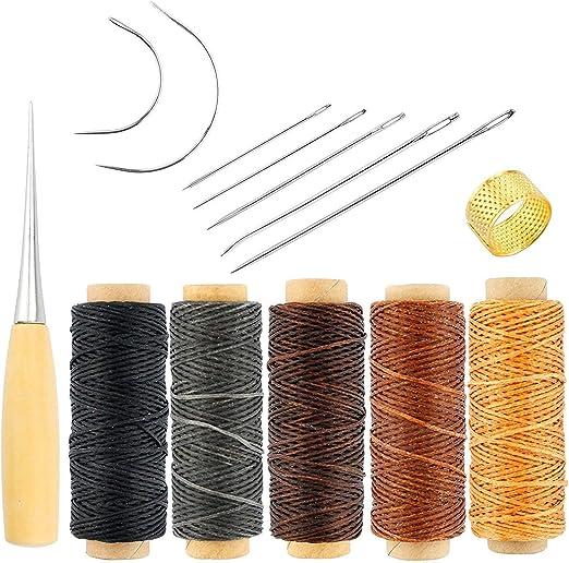 Piel Craft herramienta, agujas de coser a mano tapicería alfombra piel lienzo DIY de coser accesorios (14 piezas): Amazon.es: Hogar