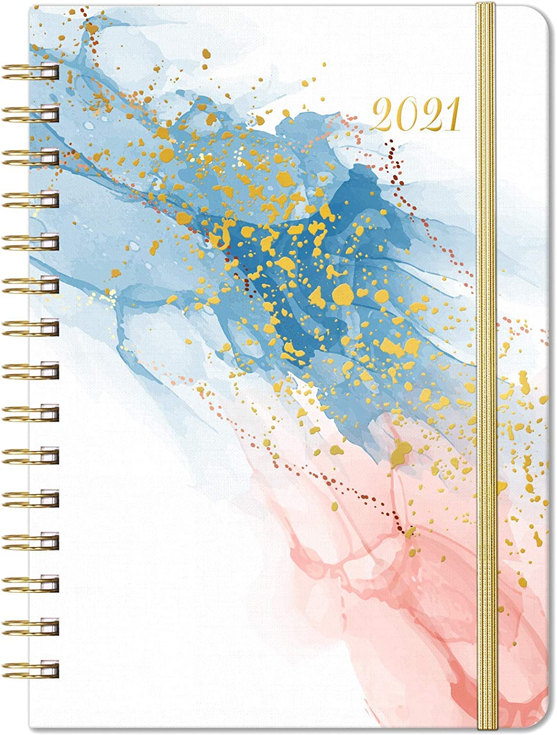 "2021 Planner – Weekly Monthly Planner 2021 for January 2021 – December 2021, 6.4""x 8.5"", Flexible Cover Planner with Elastic Closure, Coated Tabs, Inner Pocket"