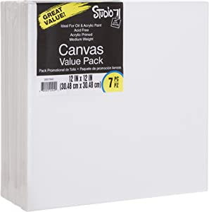 Darice Studio 71, 7 Piece, 12 by 12 inch, Stretched Canvas Value Pack, Pack of 7, White