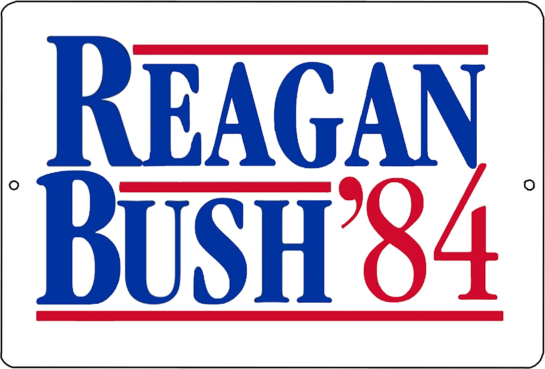 Rogue River Tactical Reagan Bush 1984 Presidential Election Republican Conservative Metal Tin Sign Wall Decor Man Cave Bar