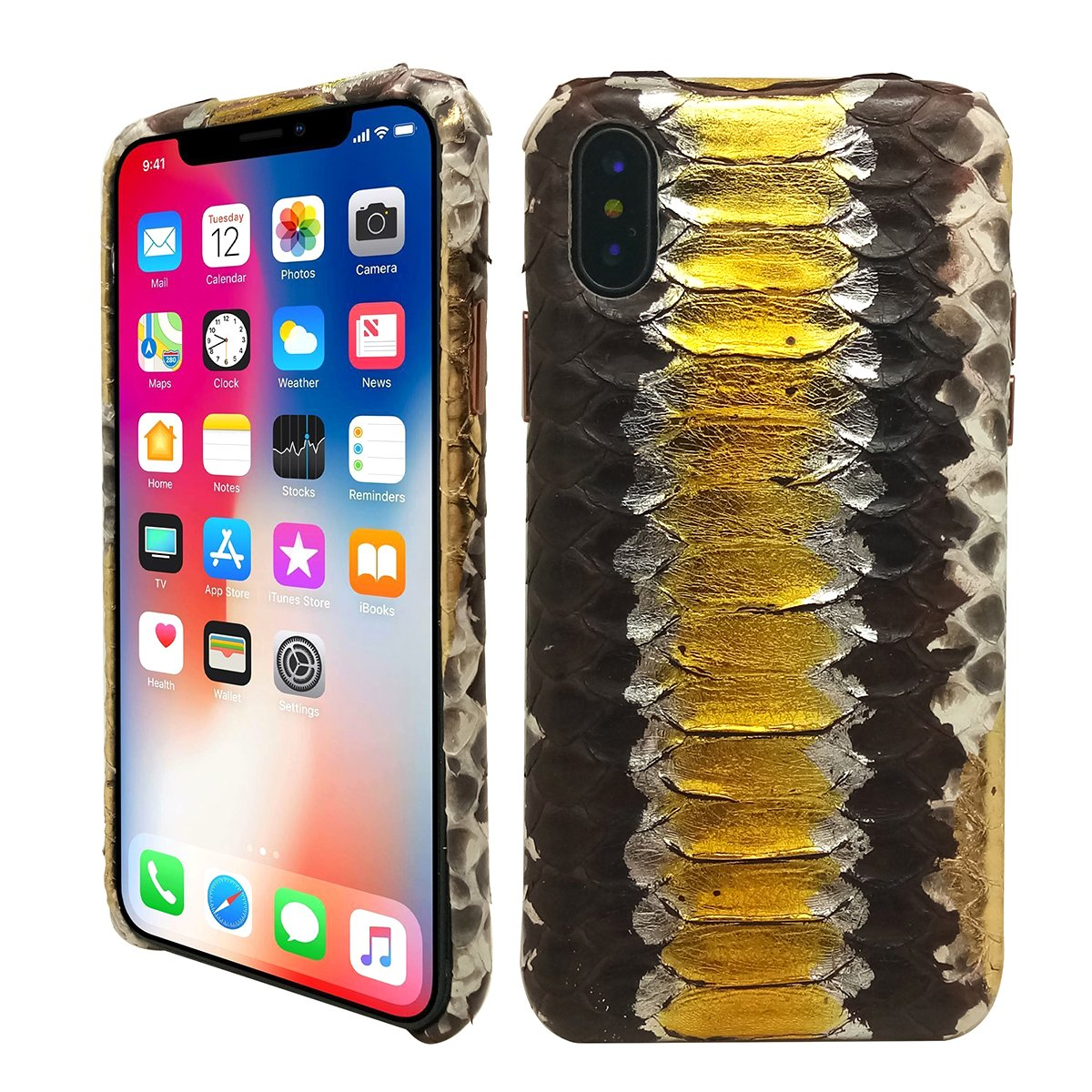 KING of Luxury Case Hand Made from Genuine Python Leather Back Cover Cell Phone Protection Case For iPhone X / iPhone 10 (Python Edition - GOLDEN)