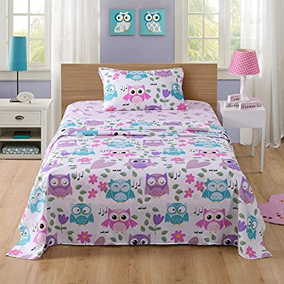 MarCielo Bed Sheets for Kids Twin Sheets for Kids Girls Boys Teens Children Sheets Soft Fitted Flat Printed Sheet Pillowcase Kids Bedding Bunk Beds Set Owl (Twin): Home & Kitchen