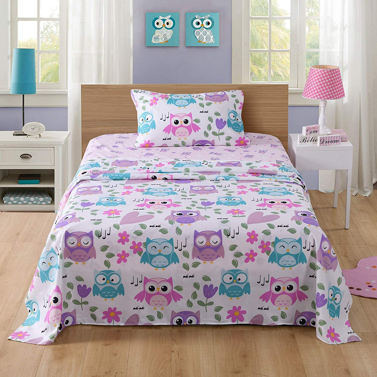 MarCielo Bed Sheets for Kids Twin Sheets for Kids Girls Boys Teens Children Sheets Soft Fitted Flat Printed Sheet Pillowcase Kids Bedding Bunk Beds Set Owl (Twin)