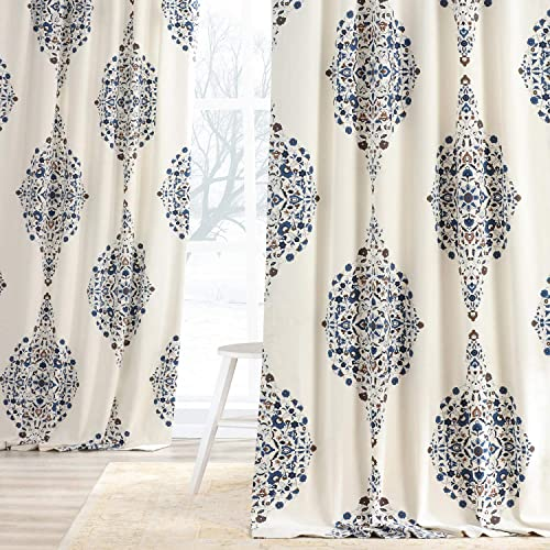 HPD Half Price Drapes PRTW-D41-120 Printed Cotton Twill Curtain 1 Panel