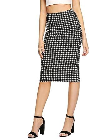 3ecaf2af52 SheIn Women's Elegant Strecthy Mid Waist Plaid Split Pencil Skirt  Black&White X-Small