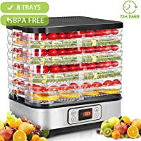 Hopekings Deshidratador de Alimentos 8 Pisos Bandejas, Deshidratador de Frutas y Verduras 400W con Temporizador 72H y…
